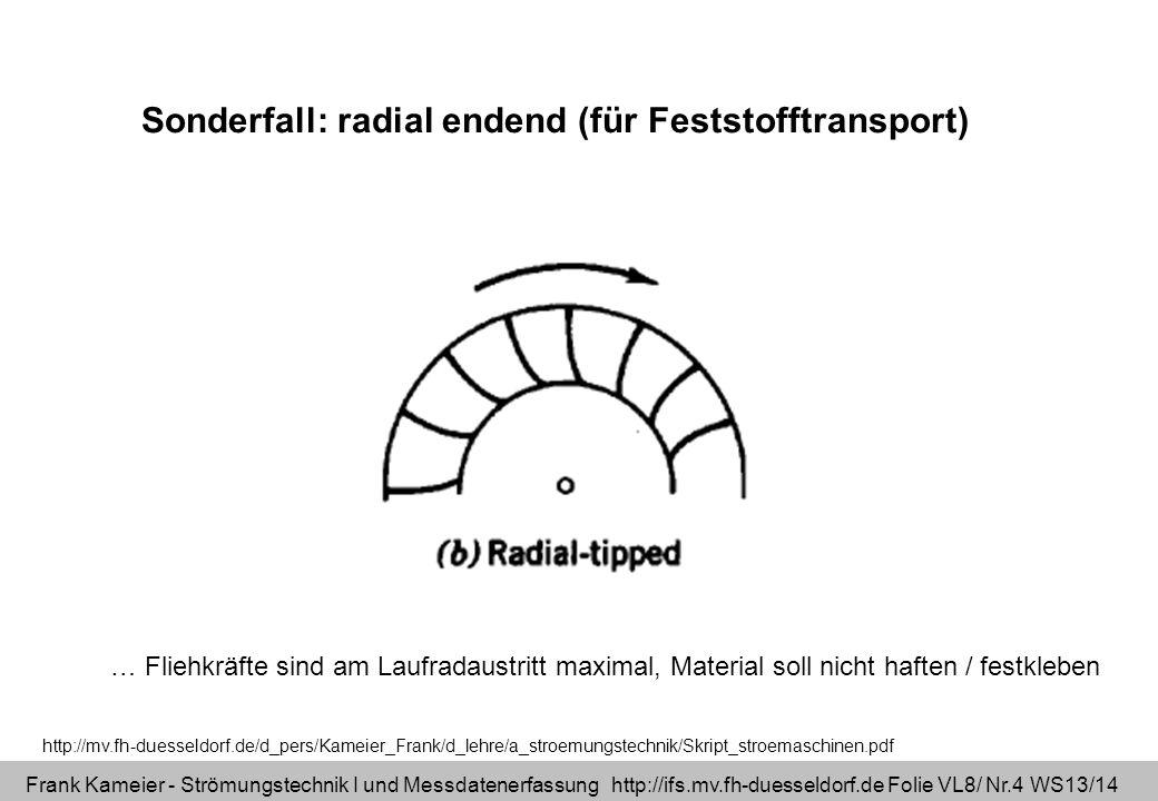 Frank Kameier - Strömungstechnik I und Messdatenerfassung http://ifs.mv.fh-duesseldorf.de Folie VL8/ Nr.5 WS13/14 ( 1 und c 1u in allen 3 Fällen gleich groß!) 2 90° 2 90° 2 90° c 2u u 2 c 2u = u 2 c 2u u 2 Schaufelformen und Geschwindigkeitsdreiecke am Laufradaustritt Vertiefung erst in Strömungstechnik II!