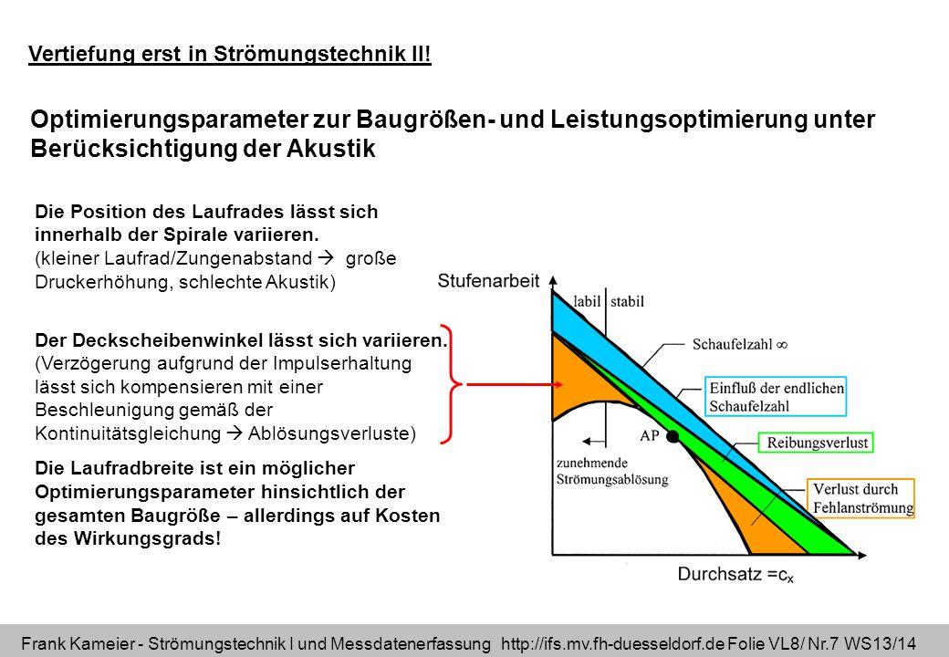 Frank Kameier - Strömungstechnik I und Messdatenerfassung http://ifs.mv.fh-duesseldorf.de Folie VL8/ Nr.7 WS13/14 Optimierungsparameter zur Baugrößen-