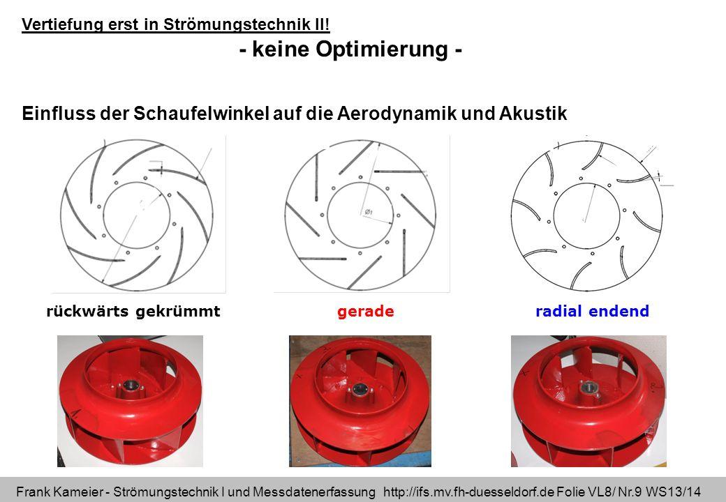 Frank Kameier - Strömungstechnik I und Messdatenerfassung http://ifs.mv.fh-duesseldorf.de Folie VL8/ Nr.10 WS13/14 Dimensionsloses Kennfeld – Vergleich der Schaufelformen rückwärts gekrümmt geraderadial endend flache Kennlinie war Kundenwunsch.