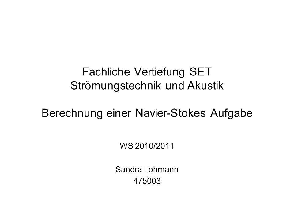 Fachliche Vertiefung SET Strömungstechnik und Akustik Berechnung einer Navier-Stokes Aufgabe WS 2010/2011 Sandra Lohmann 475003