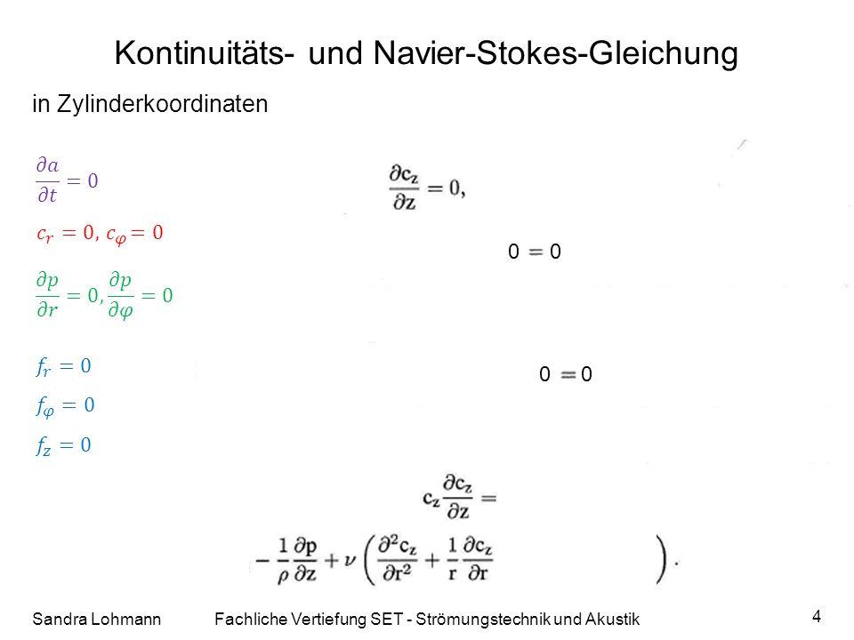 Kontinuitäts- und Navier-Stokes-Gleichung Sandra LohmannFachliche Vertiefung SET - Strömungstechnik und Akustik 4 0 in Zylinderkoordinaten