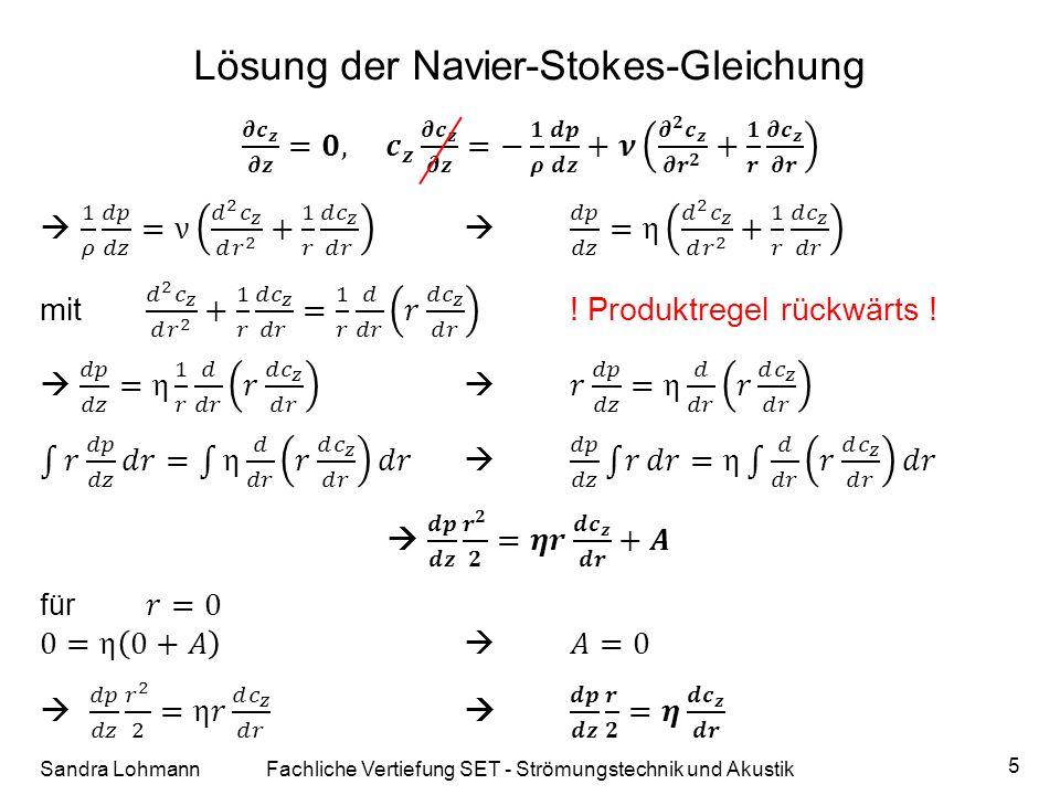 Lösung der Navier-Stokes-Gleichung Sandra LohmannFachliche Vertiefung SET - Strömungstechnik und Akustik 5