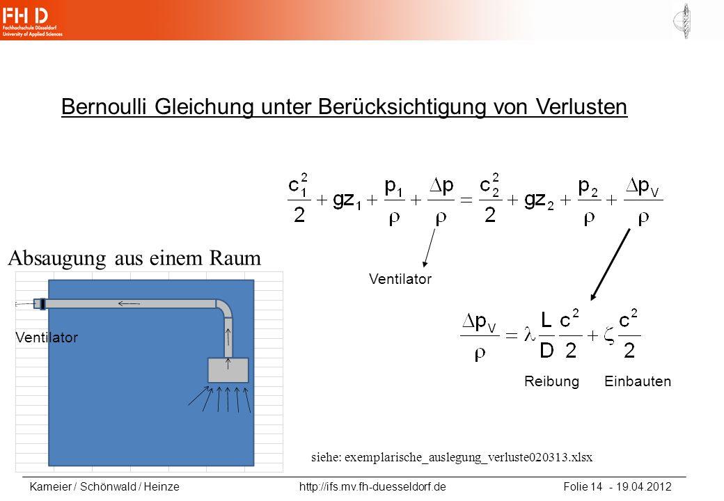 Kameier / Schönwald / Heinze http://ifs.mv.fh-duesseldorf.de Folie 14 - 19.04.2012 Bernoulli Gleichung unter Berücksichtigung von Verlusten Ventilator