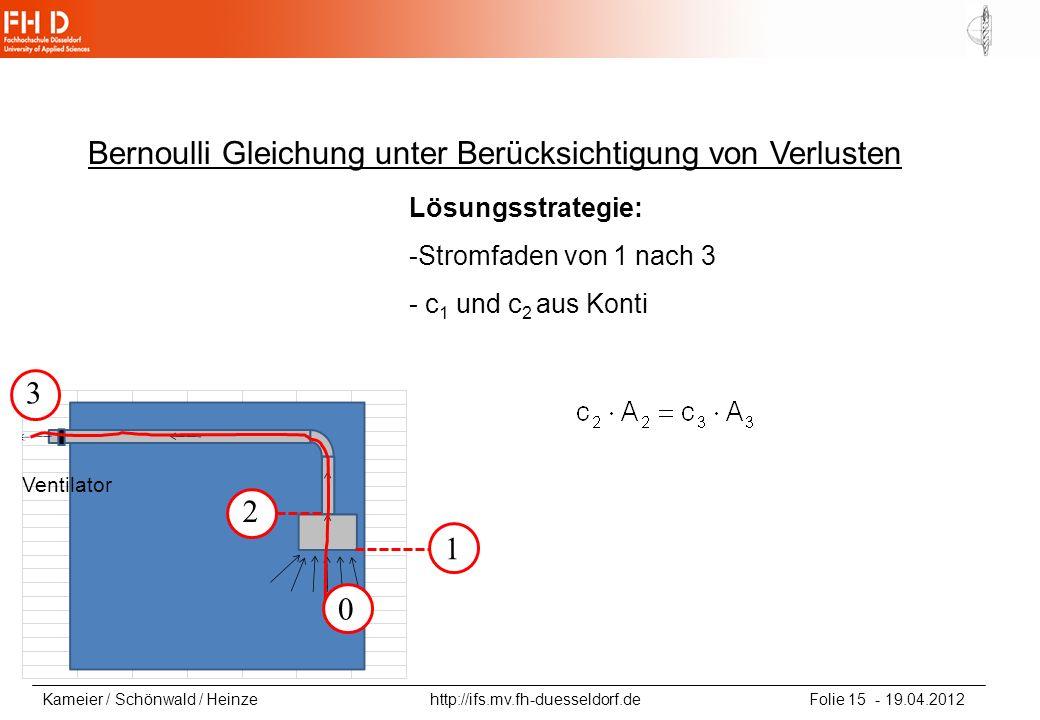 Kameier / Schönwald / Heinze http://ifs.mv.fh-duesseldorf.de Folie 15 - 19.04.2012 Bernoulli Gleichung unter Berücksichtigung von Verlusten Lösungsstr