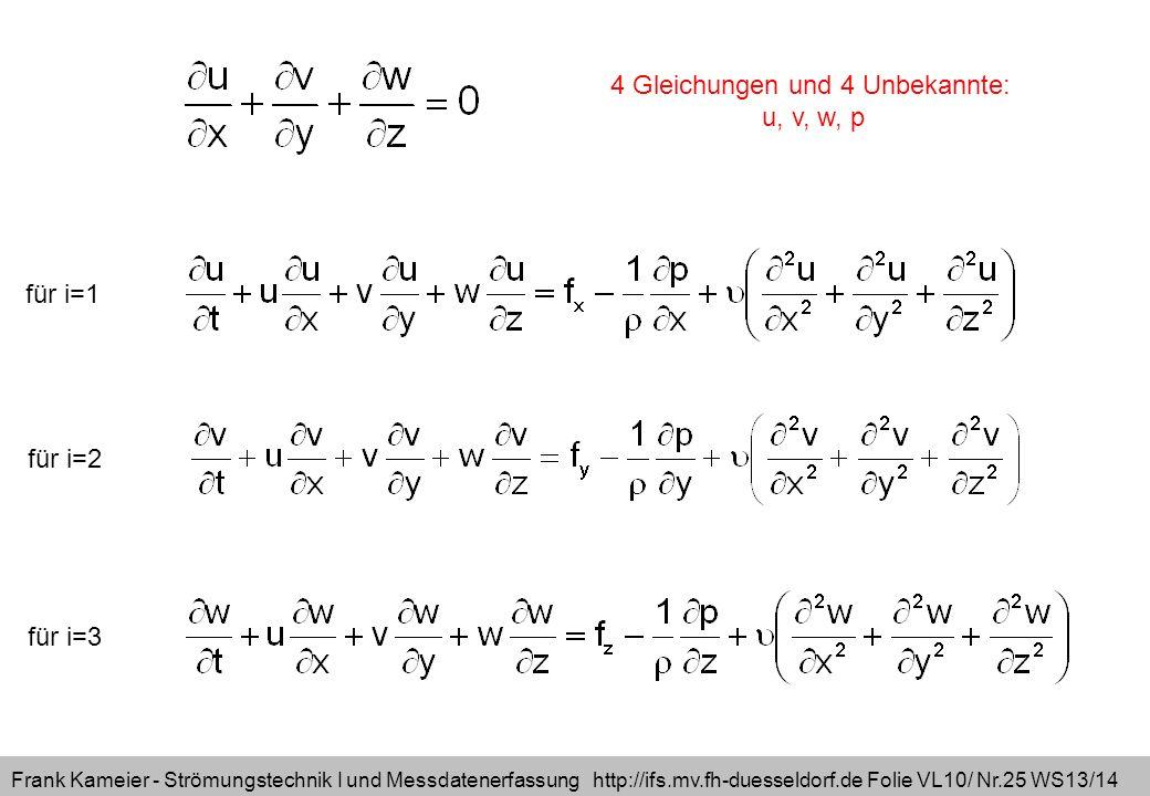 Frank Kameier - Strömungstechnik I und Messdatenerfassung http://ifs.mv.fh-duesseldorf.de Folie VL10/ Nr.25 WS13/14 für i=1 für i=2 für i=3 4 Gleichungen und 4 Unbekannte: u, v, w, p