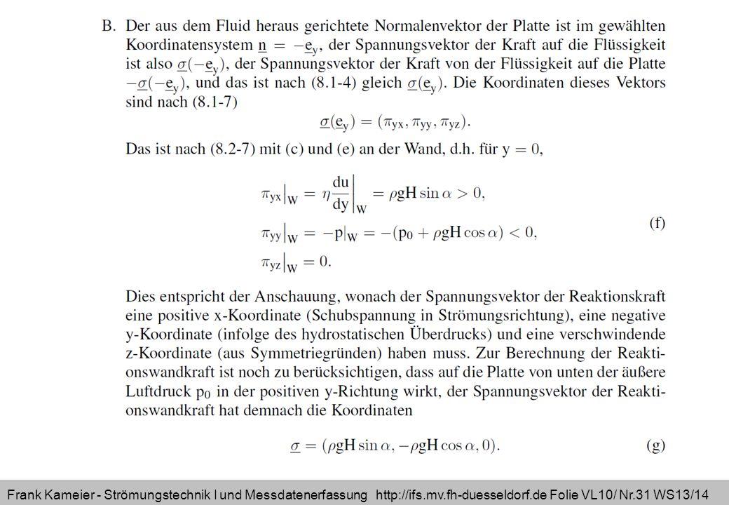 Frank Kameier - Strömungstechnik I und Messdatenerfassung http://ifs.mv.fh-duesseldorf.de Folie VL10/ Nr.31 WS13/14