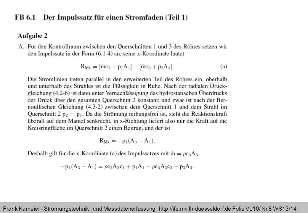 Frank Kameier - Strömungstechnik I und Messdatenerfassung http://ifs.mv.fh-duesseldorf.de Folie VL10/ Nr.8 WS13/14