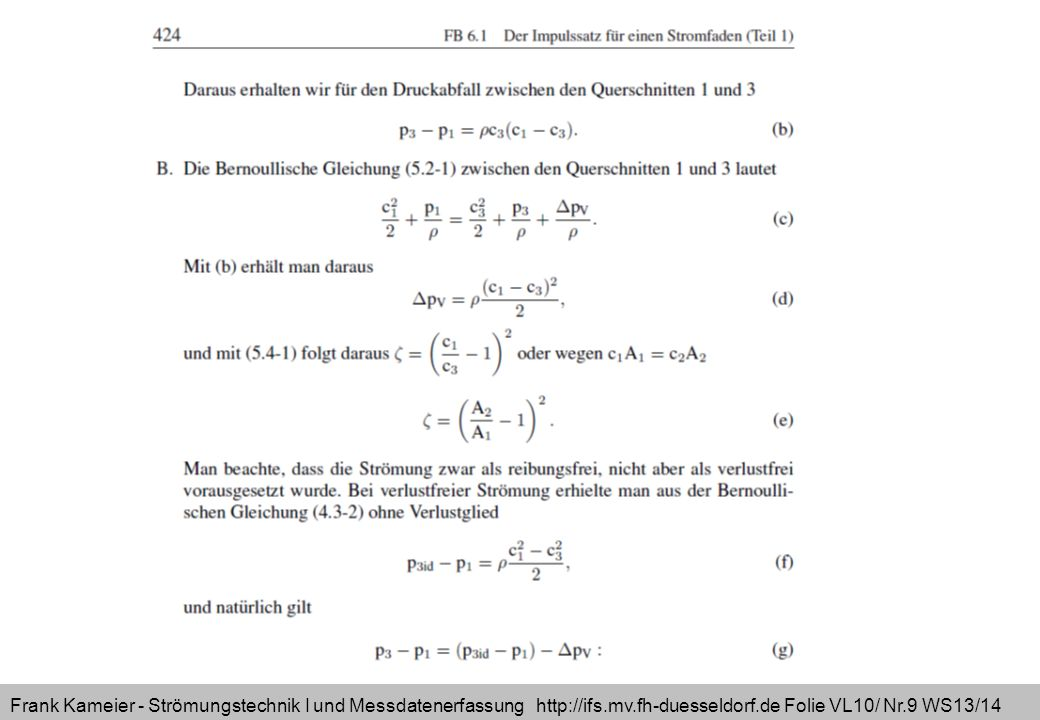 Frank Kameier - Strömungstechnik I und Messdatenerfassung http://ifs.mv.fh-duesseldorf.de Folie VL10/ Nr.9 WS13/14