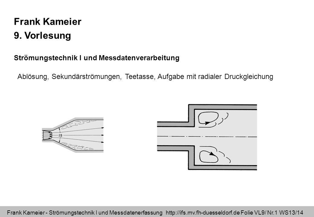 Frank Kameier - Strömungstechnik I und Messdatenerfassung http://ifs.mv.fh-duesseldorf.de Folie VL9/ Nr.1 WS13/14 Frank Kameier 9. Vorlesung Strömungs