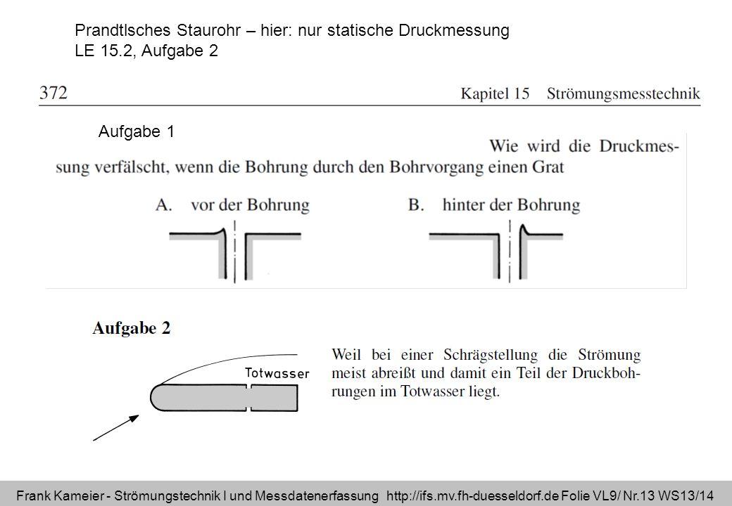 Frank Kameier - Strömungstechnik I und Messdatenerfassung http://ifs.mv.fh-duesseldorf.de Folie VL9/ Nr.13 WS13/14 Prandtlsches Staurohr – hier: nur s