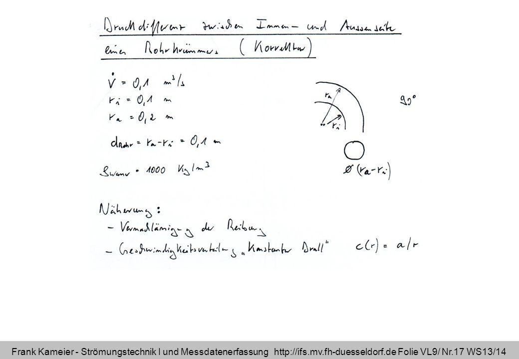 Frank Kameier - Strömungstechnik I und Messdatenerfassung http://ifs.mv.fh-duesseldorf.de Folie VL9/ Nr.17 WS13/14