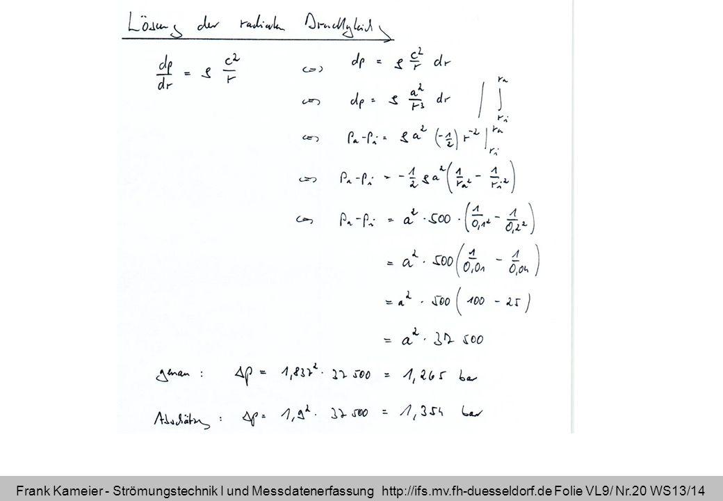 Frank Kameier - Strömungstechnik I und Messdatenerfassung http://ifs.mv.fh-duesseldorf.de Folie VL9/ Nr.20 WS13/14