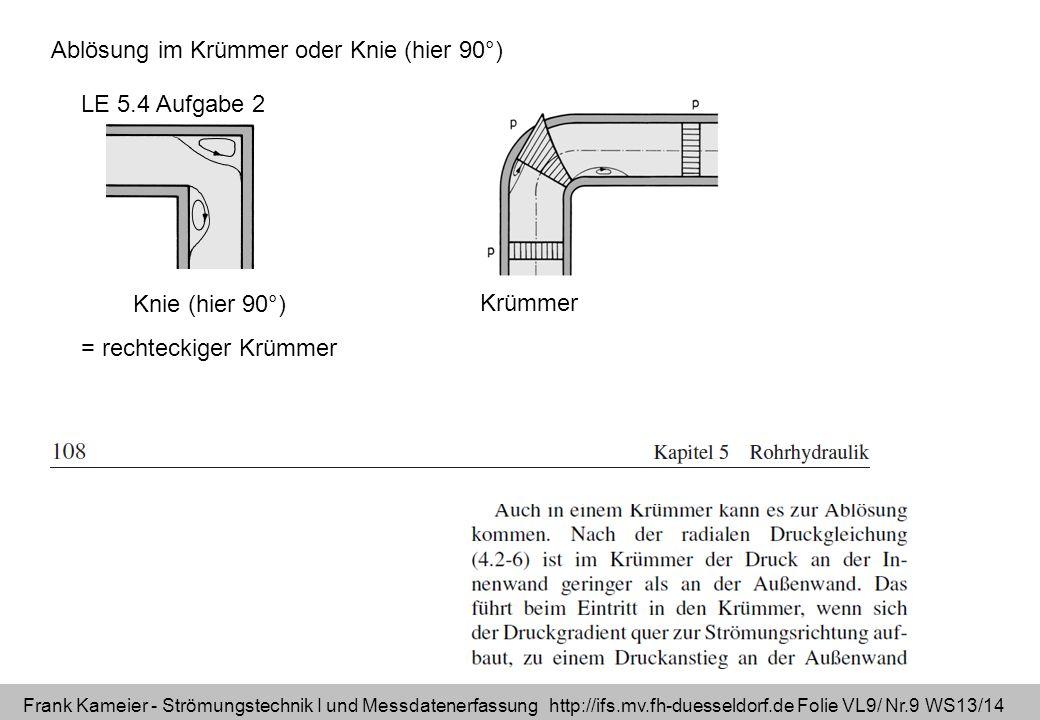 Frank Kameier - Strömungstechnik I und Messdatenerfassung http://ifs.mv.fh-duesseldorf.de Folie VL9/ Nr.9 WS13/14 Ablösung im Krümmer oder Knie (hier