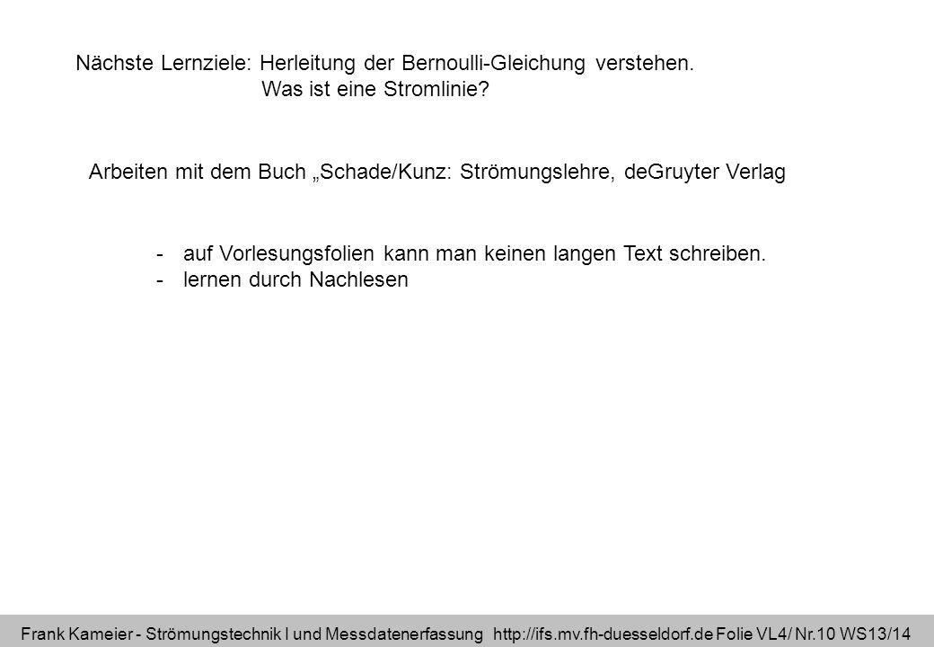 Frank Kameier - Strömungstechnik I und Messdatenerfassung http://ifs.mv.fh-duesseldorf.de Folie VL4/ Nr.10 WS13/14 Nächste Lernziele: Herleitung der B