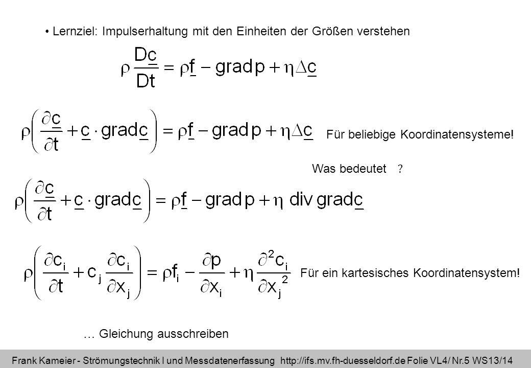 Frank Kameier - Strömungstechnik I und Messdatenerfassung http://ifs.mv.fh-duesseldorf.de Folie VL4/ Nr.5 WS13/14 … Gleichung ausschreiben Lernziel: I