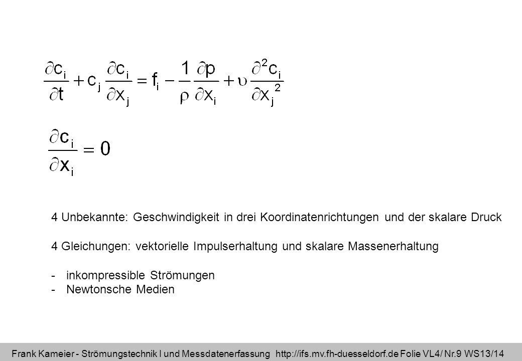Frank Kameier - Strömungstechnik I und Messdatenerfassung http://ifs.mv.fh-duesseldorf.de Folie VL4/ Nr.9 WS13/14 4 Unbekannte: Geschwindigkeit in dre