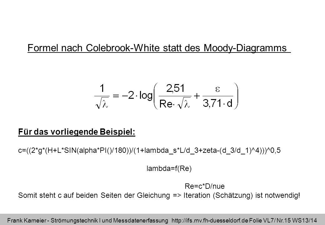 Frank Kameier - Strömungstechnik I und Messdatenerfassung http://ifs.mv.fh-duesseldorf.de Folie VL7/ Nr.15 WS13/14 Formel nach Colebrook-White statt d