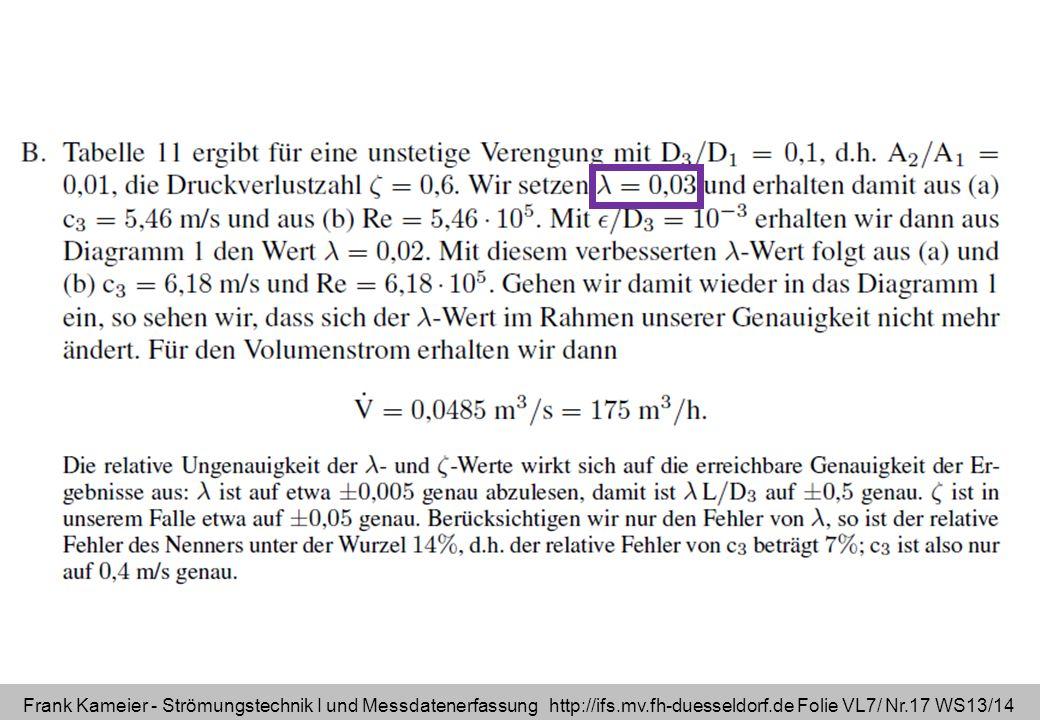 Frank Kameier - Strömungstechnik I und Messdatenerfassung http://ifs.mv.fh-duesseldorf.de Folie VL7/ Nr.17 WS13/14