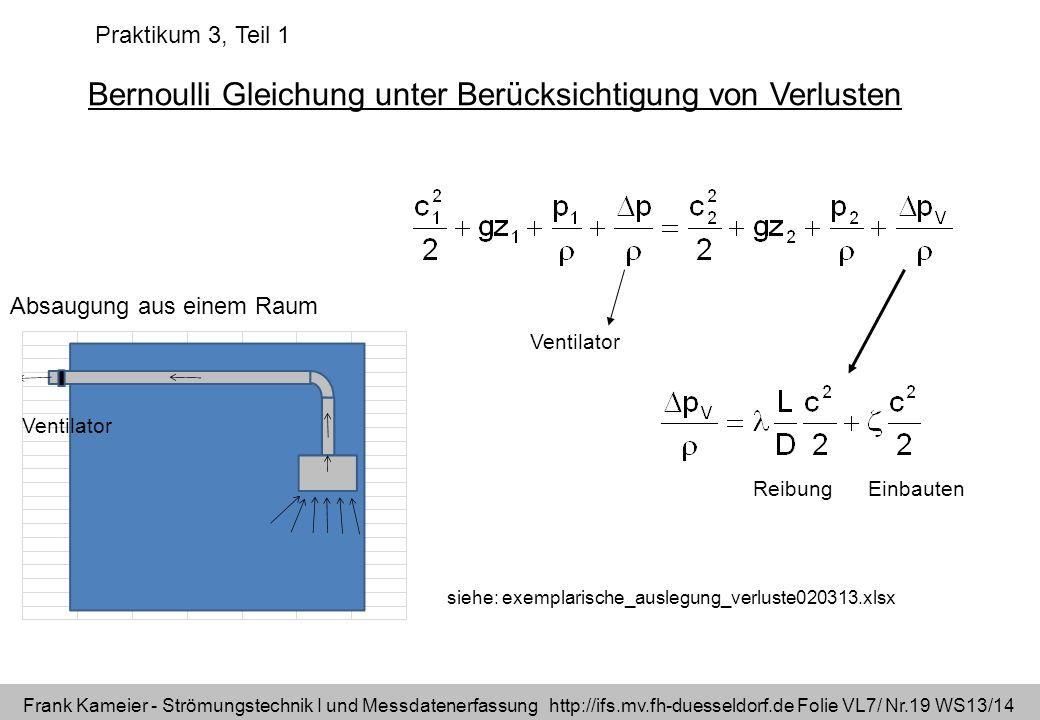 Frank Kameier - Strömungstechnik I und Messdatenerfassung http://ifs.mv.fh-duesseldorf.de Folie VL7/ Nr.19 WS13/14 Bernoulli Gleichung unter Berücksic