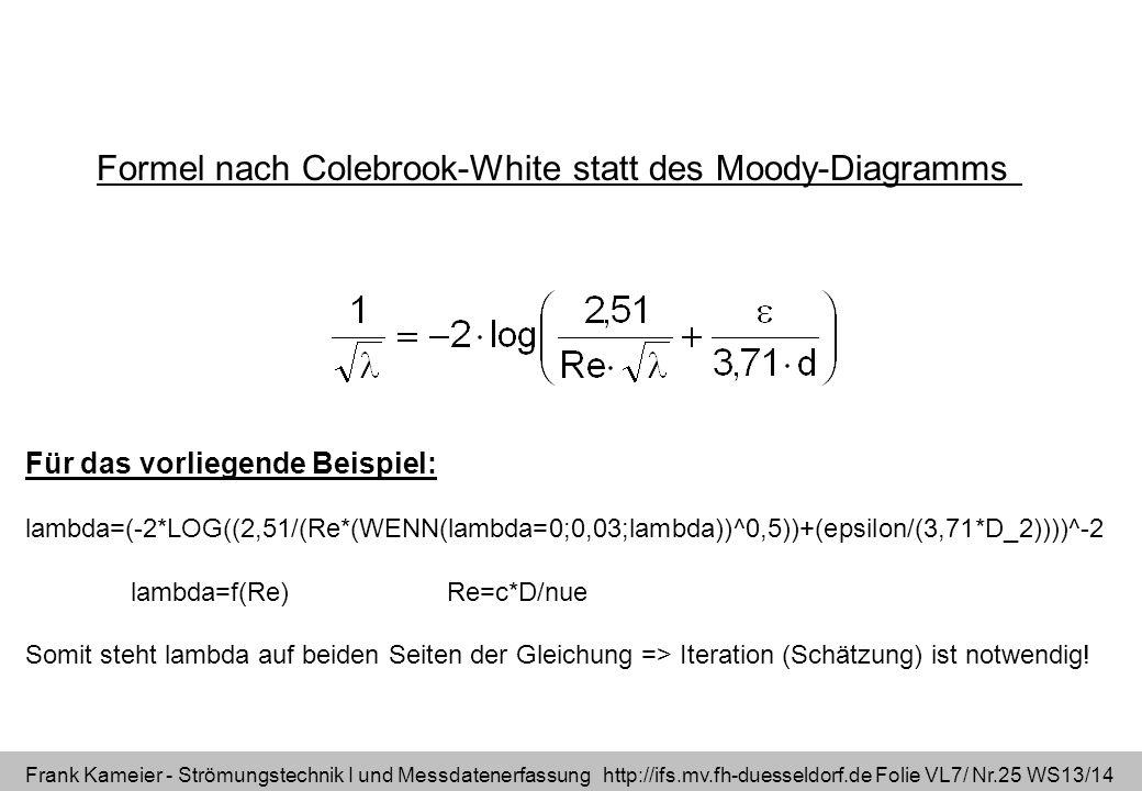 Frank Kameier - Strömungstechnik I und Messdatenerfassung http://ifs.mv.fh-duesseldorf.de Folie VL7/ Nr.25 WS13/14 Formel nach Colebrook-White statt d