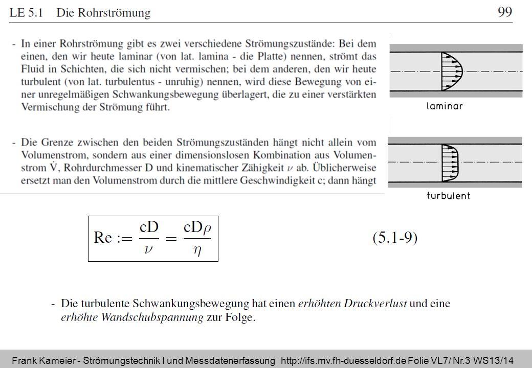 Frank Kameier - Strömungstechnik I und Messdatenerfassung http://ifs.mv.fh-duesseldorf.de Folie VL7/ Nr.3 WS13/14