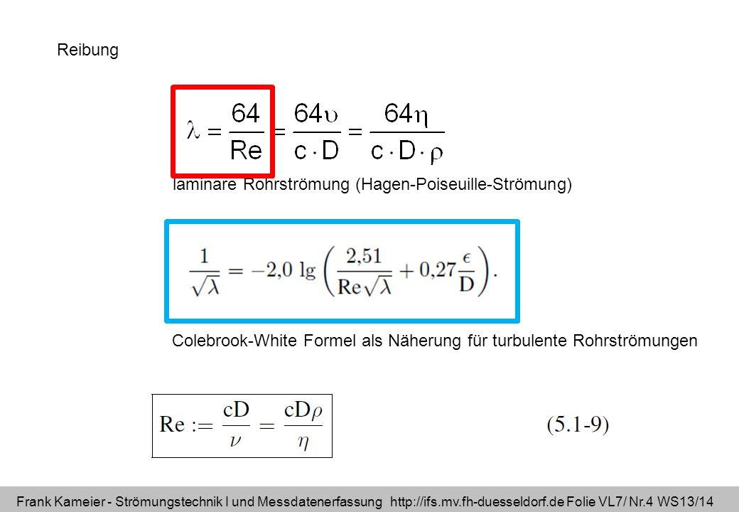 Frank Kameier - Strömungstechnik I und Messdatenerfassung http://ifs.mv.fh-duesseldorf.de Folie VL7/ Nr.4 WS13/14 Reibung Colebrook-White Formel als N