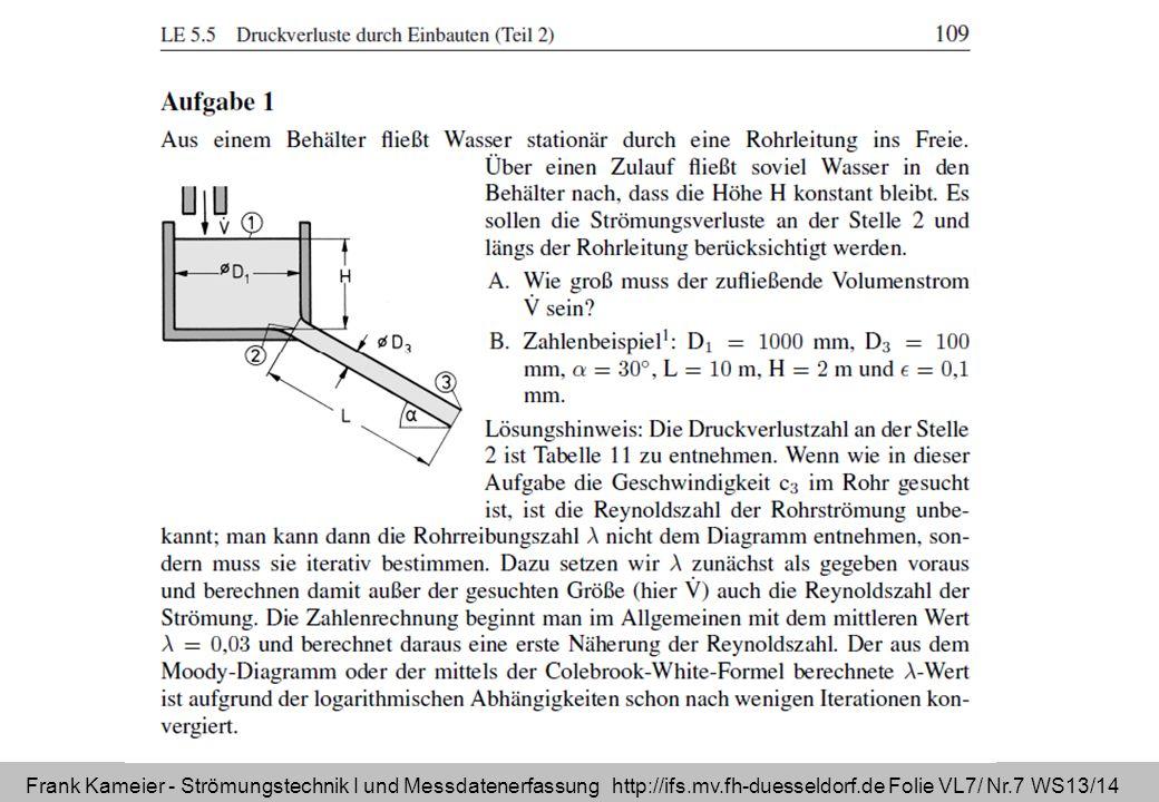 Frank Kameier - Strömungstechnik I und Messdatenerfassung http://ifs.mv.fh-duesseldorf.de Folie VL7/ Nr.7 WS13/14