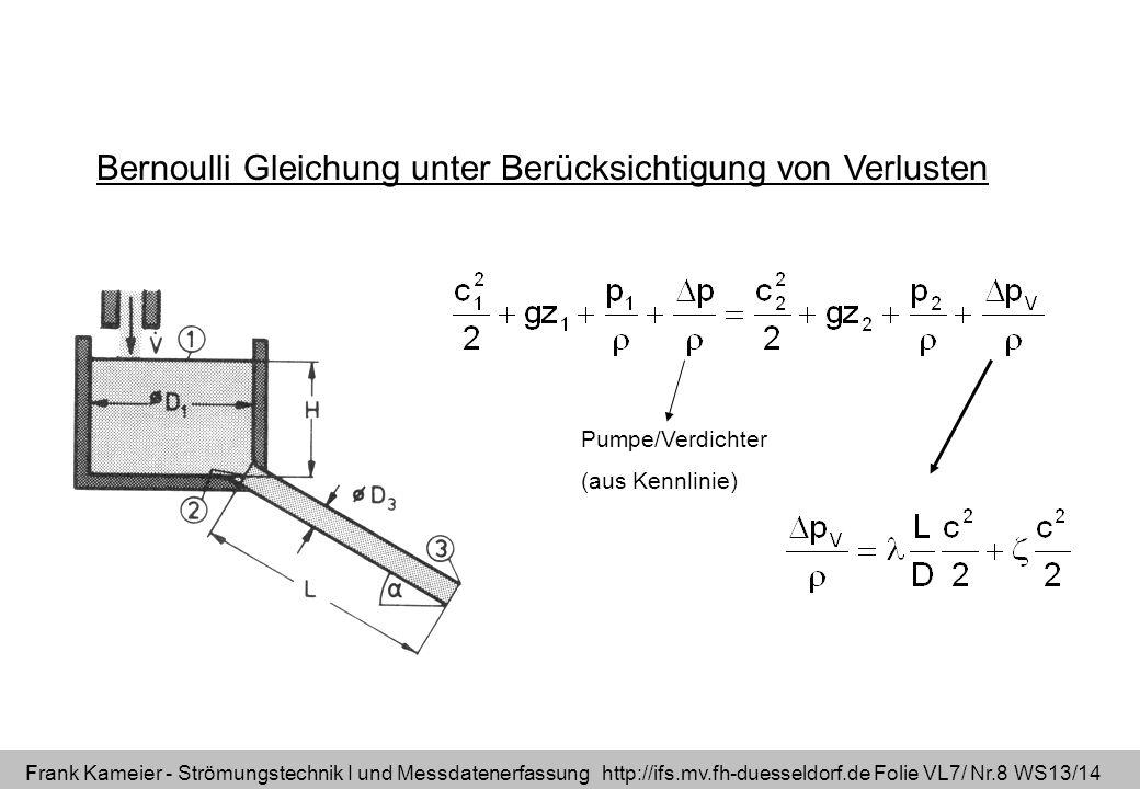 Frank Kameier - Strömungstechnik I und Messdatenerfassung http://ifs.mv.fh-duesseldorf.de Folie VL7/ Nr.8 WS13/14 Bernoulli Gleichung unter Berücksich