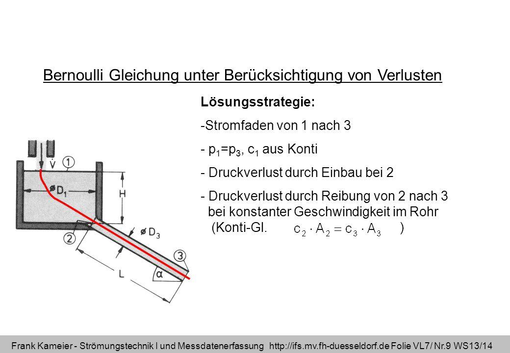 Frank Kameier - Strömungstechnik I und Messdatenerfassung http://ifs.mv.fh-duesseldorf.de Folie VL7/ Nr.9 WS13/14 Bernoulli Gleichung unter Berücksich