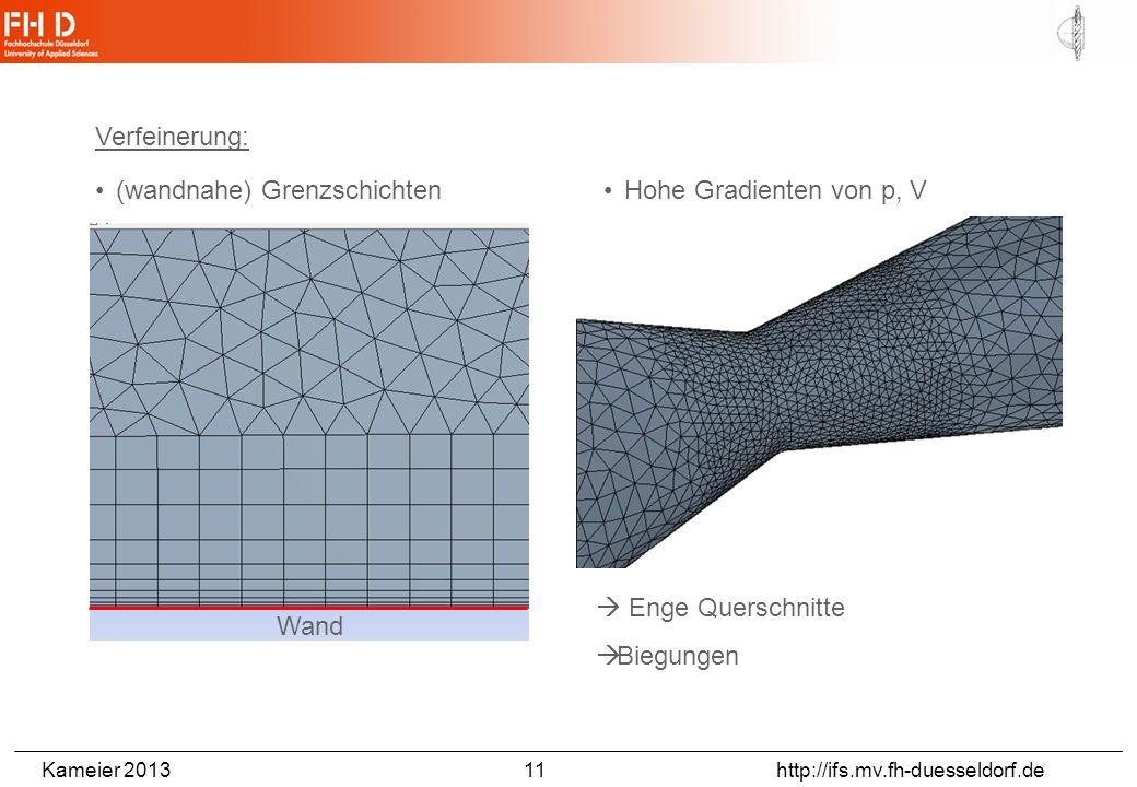 Kameier 2013 11 http://ifs.mv.fh-duesseldorf.de Verfeinerung: Hohe Gradienten von p, V(wandnahe) Grenzschichten Enge Querschnitte Biegungen Wand
