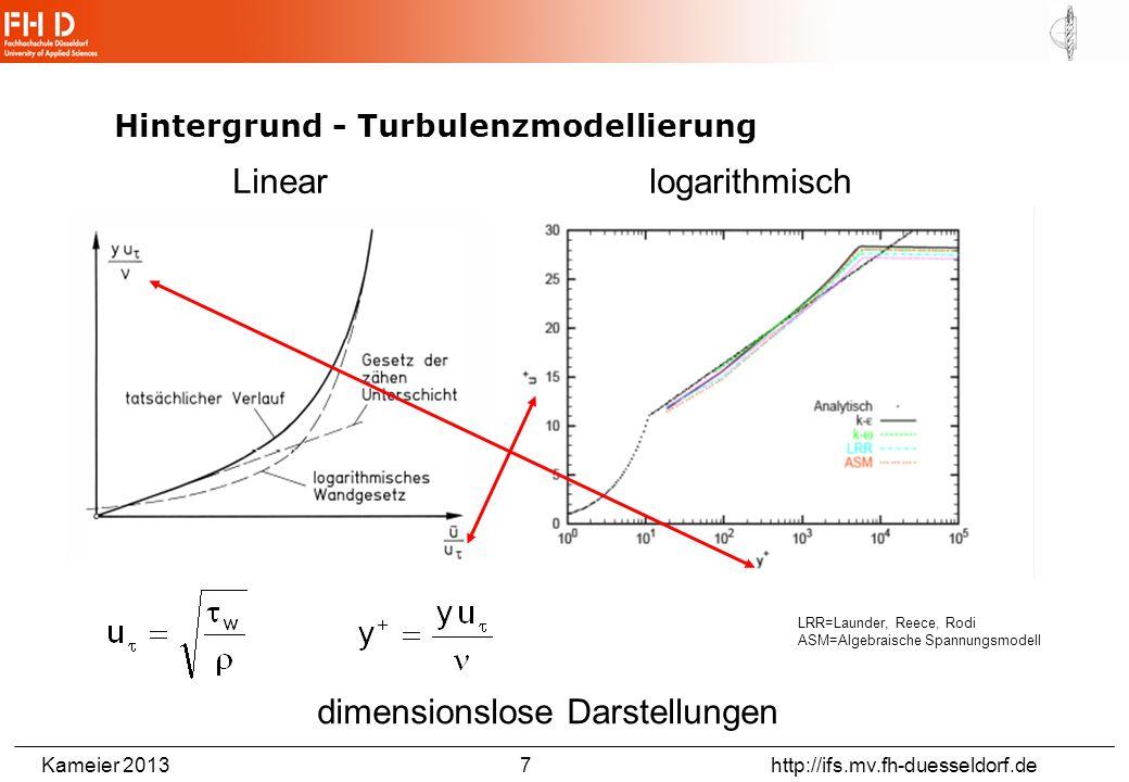 Kameier 2013 7 http://ifs.mv.fh-duesseldorf.de Hintergrund - Turbulenzmodellierung LRR=Launder, Reece, Rodi ASM=Algebraische Spannungsmodell dimension
