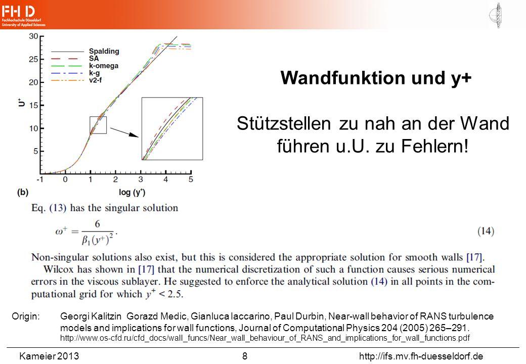 Kameier 2013 9 http://ifs.mv.fh-duesseldorf.de Origin: Tobias Schmidt, Quantifizierbarkeit von Unsicherheiten bei der Grenzschichtwiedergabe mit RANS-Verfahren, Dissertation, TU Berlin, 2011.