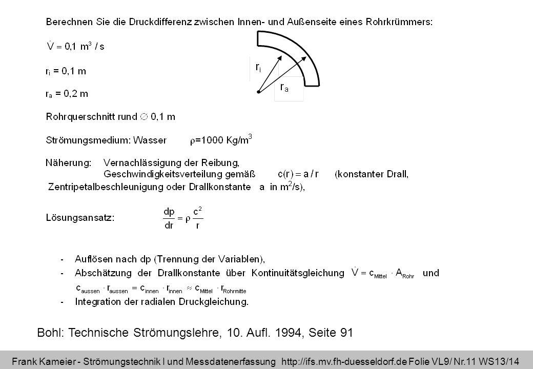 Frank Kameier - Strömungstechnik I und Messdatenerfassung http://ifs.mv.fh-duesseldorf.de Folie VL9/ Nr.11 WS13/14 Bohl: Technische Strömungslehre, 10.