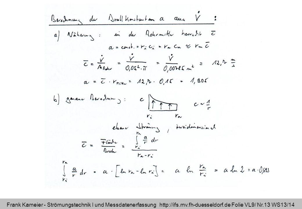 Frank Kameier - Strömungstechnik I und Messdatenerfassung http://ifs.mv.fh-duesseldorf.de Folie VL9/ Nr.13 WS13/14