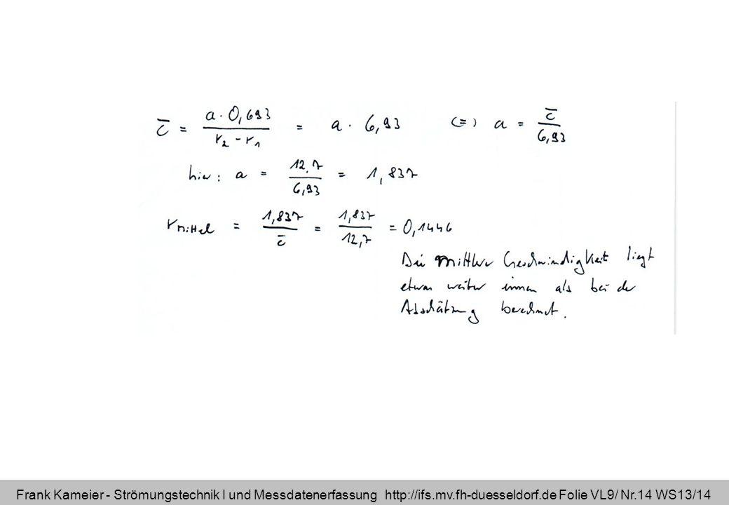Frank Kameier - Strömungstechnik I und Messdatenerfassung http://ifs.mv.fh-duesseldorf.de Folie VL9/ Nr.14 WS13/14