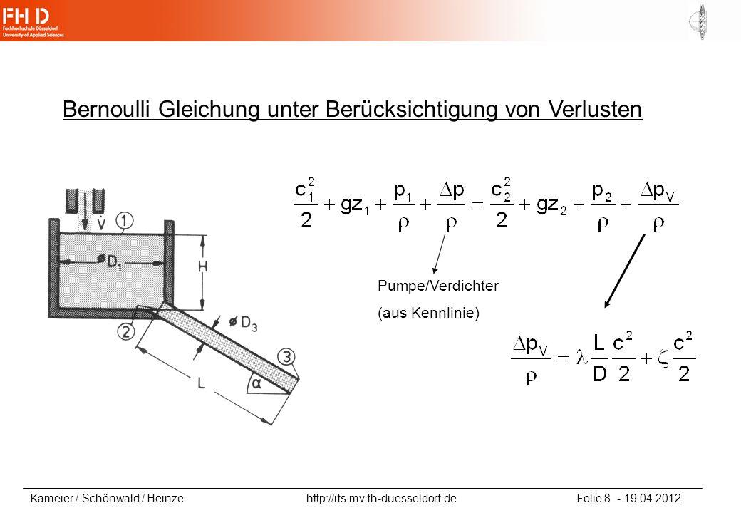 Kameier / Schönwald / Heinze http://ifs.mv.fh-duesseldorf.de Folie 9 - 19.04.2012 Bernoulli Gleichung unter Berücksichtigung von Verlusten Lösungsstrategie: -Stromfaden von 1 nach 3 - p 1 =p 3, c 1 aus Konti - Druckverlust durch Einbau bei 2 - Druckverlust durch Reibung von 2 nach 3 bei konstanter Geschwindigkeit im Rohr (Konti-Gl.