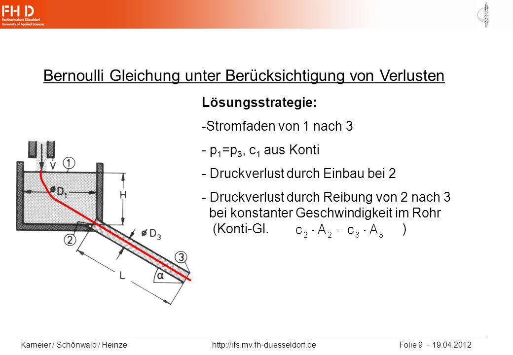 Kameier / Schönwald / Heinze http://ifs.mv.fh-duesseldorf.de Folie 9 - 19.04.2012 Bernoulli Gleichung unter Berücksichtigung von Verlusten Lösungsstra
