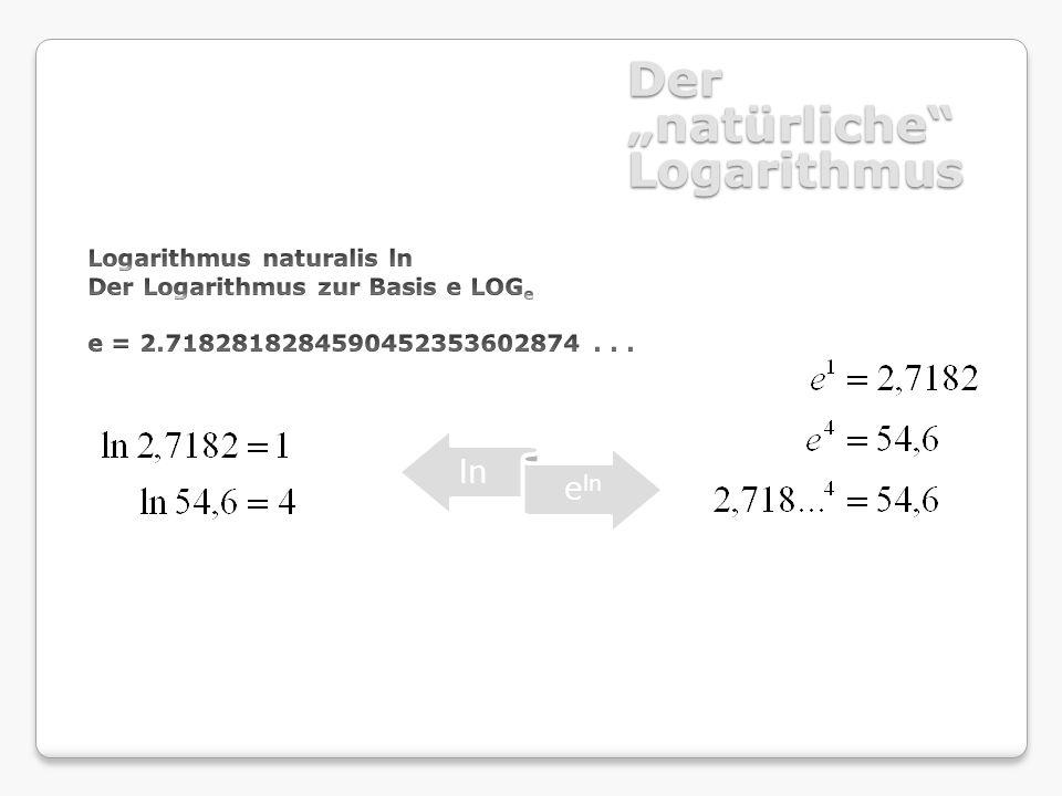 Der natürliche Logarithmus ln e ln