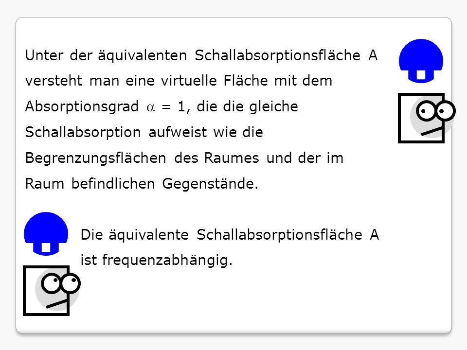 Unter der äquivalenten Schallabsorptionsfläche A versteht man eine virtuelle Fläche mit dem Absorptionsgrad = 1, die die gleiche Schallabsorption aufw