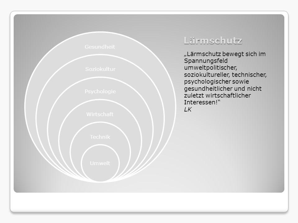 Lärmschutz Lärmschutz bewegt sich im Spannungsfeld umweltpolitischer, soziokultureller, technischer, psychologischer sowie gesundheitlicher und nicht
