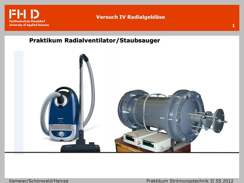 Versuch IV Radialgebläse Kameier/Schönwald/Heinze Praktikum Strömungstechnik II SS 2012 Klassifizierung von Strömungsmaschinen 2 strömende Fluide inkompressible Strömungen Ma < 0,3 In Luft c < 100 m/s In Wasser p < 100 bar, T < 50°C ρ < 5% kompressible Strömungen Ma > 0,3 In Luft c > 100 m/s In Wasser p > 100 bar, T > 50°C ρ > 5% hydraulische Strömungsmaschinen thermische Strömungsmaschinen Wasser- turbinen PumpenVentilatorenWindkraft- anlagen Hochdruck- verdichter Dampf- und Gasturbinen Staubsauger