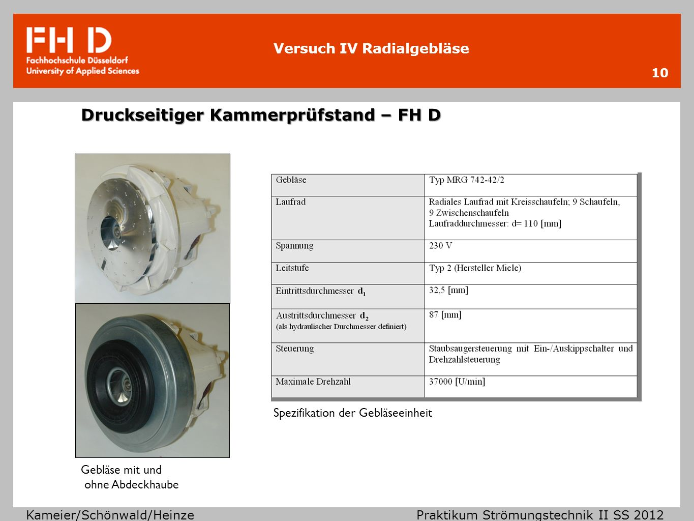 Versuch IV Radialgebläse Kameier/Schönwald/Heinze Praktikum Strömungstechnik II SS 2012 Los gehts.