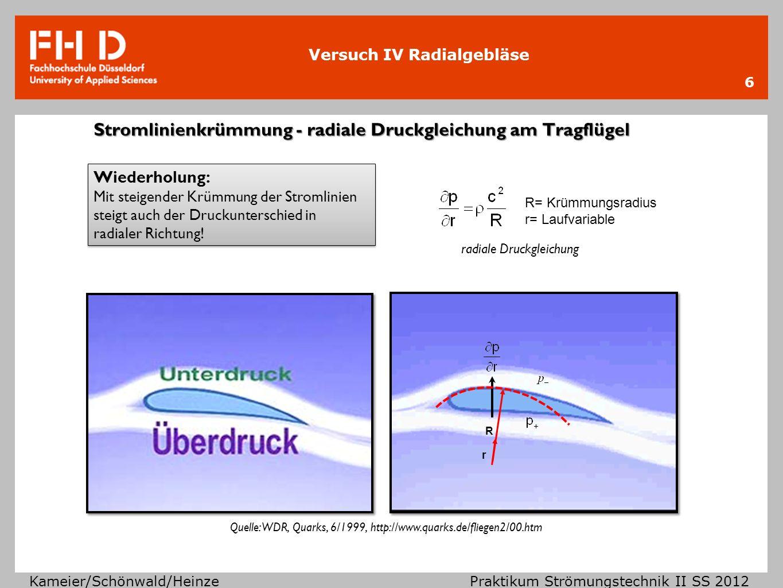 Versuch IV Radialgebläse Kameier/Schönwald/Heinze Praktikum Strömungstechnik II SS 2012 CFD Simulation (Streamlines) 7 saugseitig große Wirbelgebiete gleicher/niedriger Geschwindigkeit Kanalisierung der Hauptströmung druckseitig statische Druckbohrungen an der Kammeraußenwand sind repräsentativ