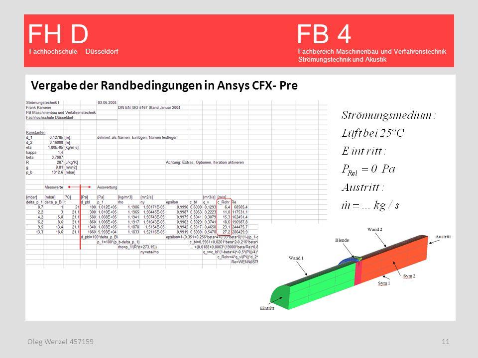 Fachhochschule Düsseldorf FB 4 Fachbereich Maschinenbau und Verfahrenstechnik Strömungstechnik und Akustik FH D Oleg Wenzel 457159 11 Vergabe der Rand