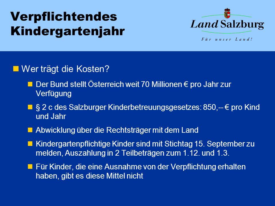 Verpflichtendes Kindergartenjahr Wer trägt die Kosten? Der Bund stellt Österreich weit 70 Millionen pro Jahr zur Verfügung § 2 c des Salzburger Kinder