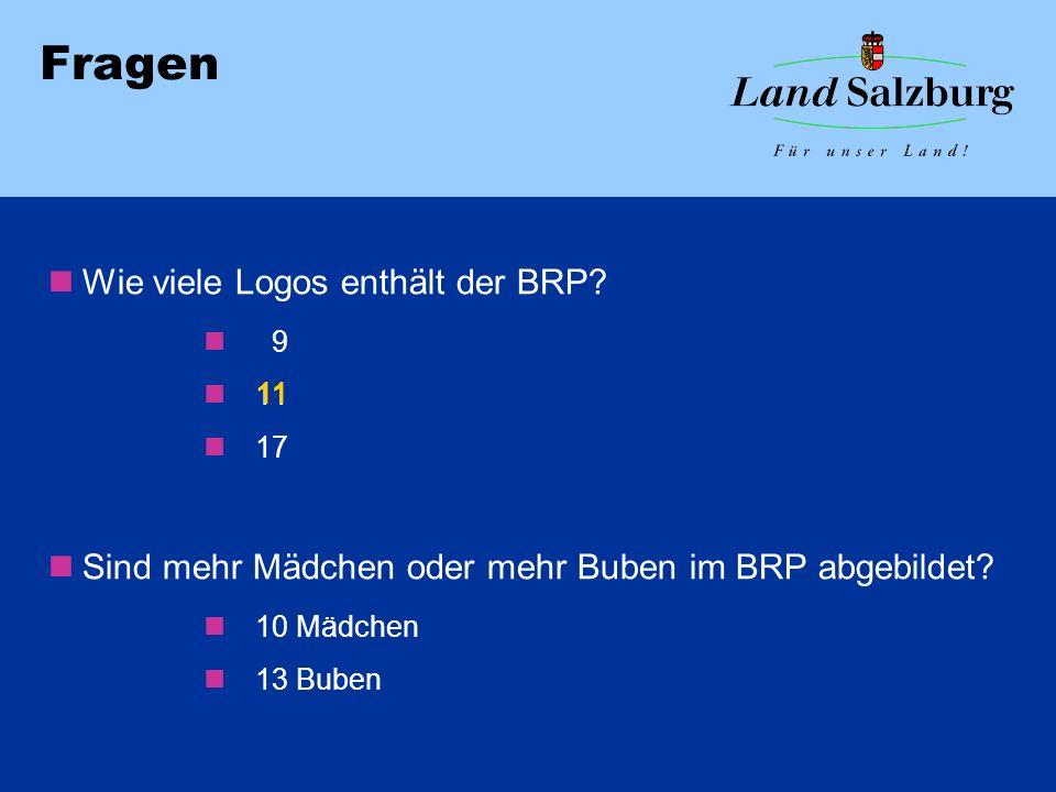 Fragen Wie viele Logos enthält der BRP? 9 11 17 Sind mehr Mädchen oder mehr Buben im BRP abgebildet? 10 Mädchen 13 Buben 11