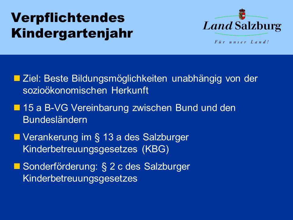 Verpflichtendes Kindergartenjahr Ziel: Beste Bildungsmöglichkeiten unabhängig von der sozioökonomischen Herkunft 15 a B-VG Vereinbarung zwischen Bund