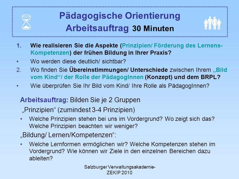 Salzburger Verwaltungsakademie- ZEKIP 2010 Pädagogische Orientierung Arbeitsauftrag 30 Minuten 1.Wie realisieren Sie die Aspekte (Prinzipien/ Förderung des Lernens- Kompetenzen) der frühen Bildung in Ihrer Praxis.