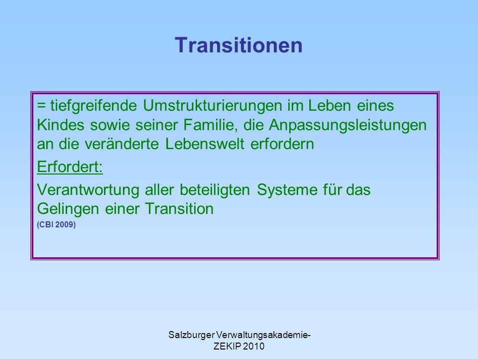 Salzburger Verwaltungsakademie- ZEKIP 2010 Transitionen = tiefgreifende Umstrukturierungen im Leben eines Kindes sowie seiner Familie, die Anpassungsleistungen an die veränderte Lebenswelt erfordern Erfordert: Verantwortung aller beteiligten Systeme für das Gelingen einer Transition (CBI 2009)