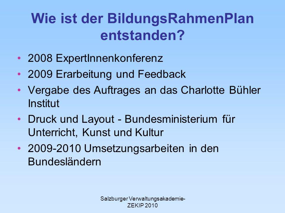 Salzburger Verwaltungsakademie- ZEKIP 2010 Wie ist der BildungsRahmenPlan entstanden.